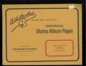 White Ace Historical Stamp Album Pages Fish Topical Blank Pages Pack of 12