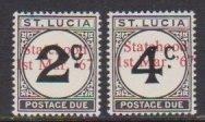 1965 St. Lucia Scott # J11-J12 Statehood Overprint MH see Scott note