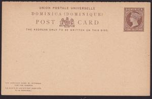 DOMINICA QV 1½d + 1½d reply postcard unused.................................7489