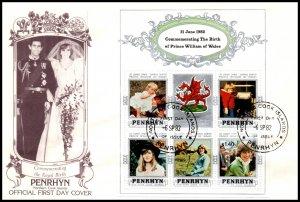 Penrhyn Island 204c Prince William Souvenir Sheet U/A FDC
