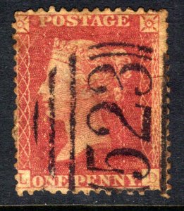 GB 1856 – 58 QV 1d Red Large Crown Perf 14 ( L & D ) 523 Pmk  ( E485 )