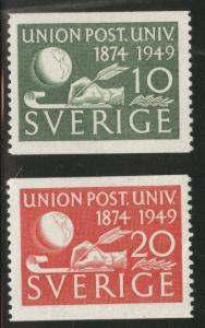 SWEDEN Scott 411-412 MH* 1949 UPU coils