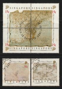 1989 Old Maps of Singapore set of 2V+ block of 4V CTO SG#596-600 CV£12.50