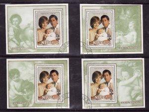 Niue-Sc#364-7- id5-used sheets-Paintings-Christmas-Princess Diana-1982-UR sheet
