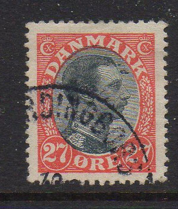 Denmark Sc 110 1918 27 ore vermilion & black Christian X stamp used