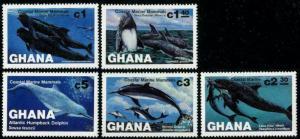 HERRICKSTAMP GHANA Sc.# 841-45 1983 Whales