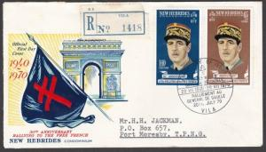 NEW HEBRIDES 1970 de Gaulle FDC Registered to PNG..........................55217
