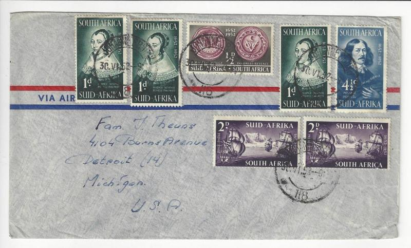 1952 South Africa To USA Cover With 7 Stamps (AB46)