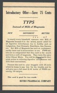 1933 Kingston NY Boyro Pharmacal Co Introduces Typs Milk Of Magnesia See Info