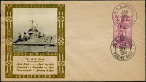#777 LOUIS WEIGAND CACHET OF U.S.S. EBERLE JAN 20,1941 COVER BP9339