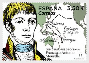 Stamps Spain 2019- Discoverers of Oceania, Francisco Antonio Mourelle.
