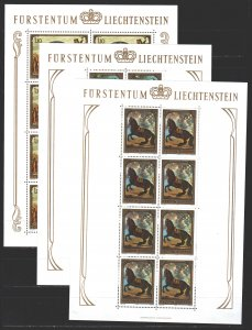 Liechtenstein. 1978. Small sheet 717-19. Horses, dog, painting. MNH.