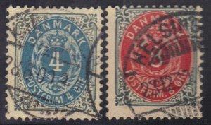 DENMARK SCOTT# 26,28 USED 4,8o 1875-79    SEE SCAN