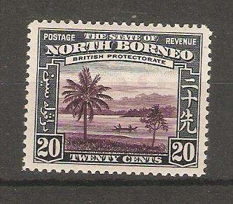 NORTH BORNEO 1939 20c SG 312 LIGHTLY HINGED MINT