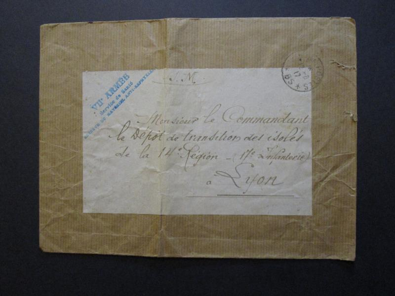 France 1917 Large 7th Army Anti Asphyxia Service Cover / Center Fold - Z7094