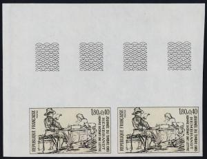 France B556 imperf pair MNH Art, Man dictating a letter, Rembrandt, Stamp Day