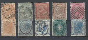 Italy 1863 King Viktor Emanuel II - selection of used stamps
