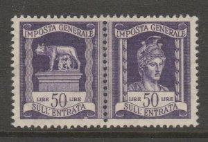 Italy MNH gum pairs Revenue Fiscal Cinderella stamp 9-25-30