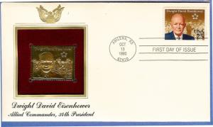United States #2513 25c Eisenhower FDC w/ gold stamp replica (1990)