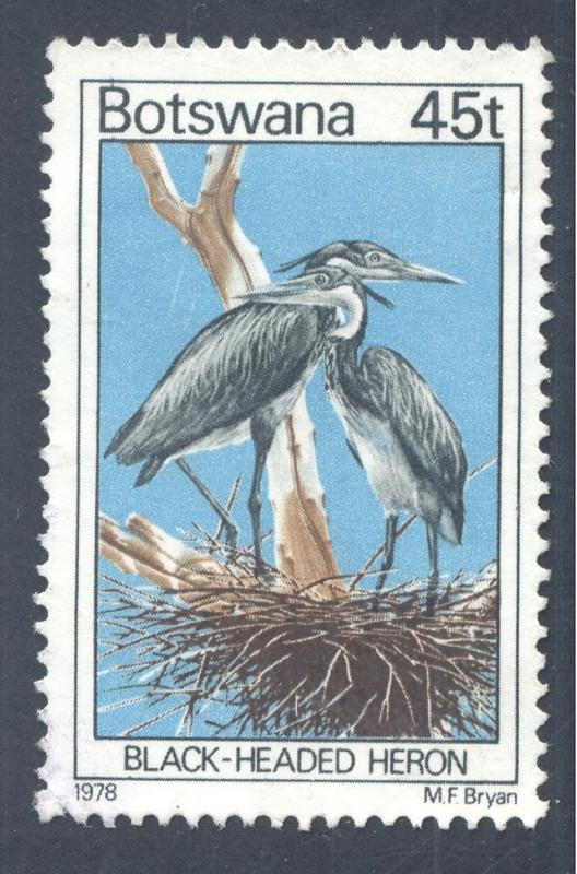 Birds: Black-headed Heron (Ardea melanocephala), 1978 Botswana, Scott #210