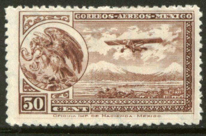MEXICO C16 50cts Early Air Mail Plane and coat of arms MNH