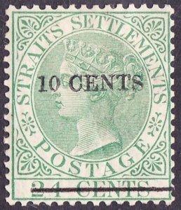 MALAYA STRAITS SETTLEMENTS 1891 QV 10c on 24c Yellow-Green SG86a MH
