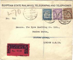 1938 EGYPTIAN STATE RAILWAYS TELEGRAPHS TELEPHONES Reg Official Cover Faggala