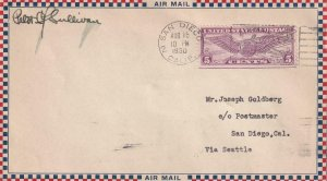 1930, San Diego, CA to Seattle, WA, Airmail, Signed by Pilot (41313)