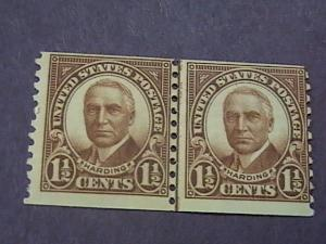 U.S.# 686-MINT/NEVER HINGED----JOINT LINE PAIR----BROWN----HARDING----1930
