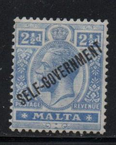 Malta Sc 90 1922 2 1/2d ultra George V stamp mint