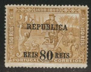 PORTUGAL Scott 190 Vasco da Gamma Overprint, Re-gummed not by me