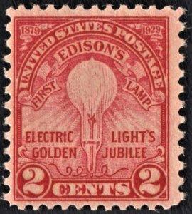 US 655 MNH F 2 Cent Edison's First Lamp