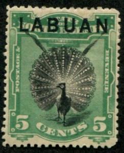 Labuan SC# 52 Argus Pheasant 5c thin, mint hinged