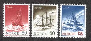 NORWAY 596-598 MNH POLAR EXPLORATION SHIPS 1972