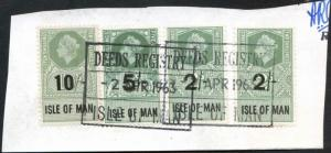 Isle of Man QEII 10/- 5/- and 2 x 2/- Key Plate Type Revenues CDS on Piece