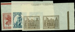 HUNGARY #B69-71 set of PROOFS in original color on unwmk ungummed paper, mgn prs
