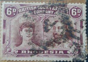 Rhodesia Double Head Six Pence with Barred Diamond A postmark