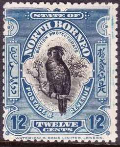 NORTH BORNEO 1909 12 Cents Black and Deep Blue SG173 MH CV £55