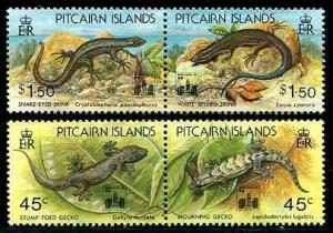 HERRICKSTAMP PITCAIRN ISLANDS Sc.# 395-98 Lizards Ovpt. Hong Kong