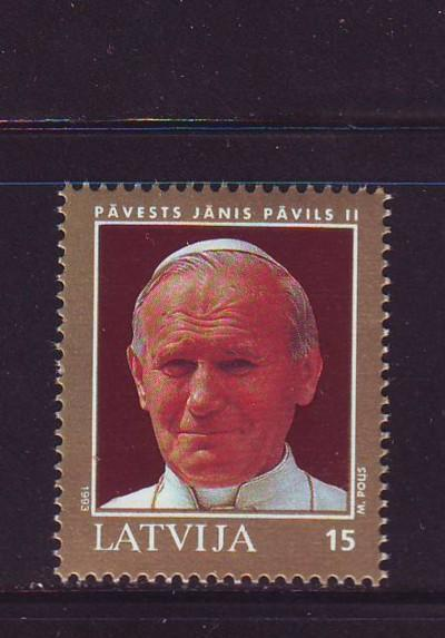 Latvia Sc 352 1993 Pope John Paul II visit stamp mint NH