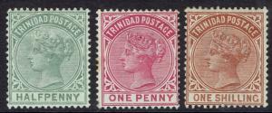 TRINIDAD 1883 QV 1/2D 1D AND 1/-
