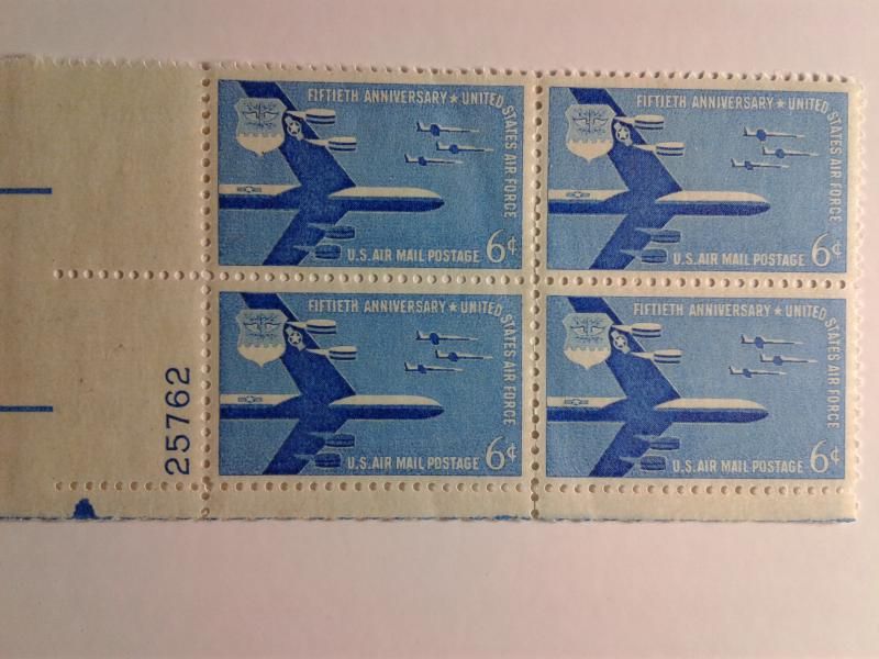 SCOTT # C49 AIR MAIL PLATE BLOCK MINT NEVER HINGED !!