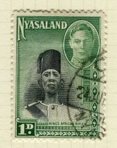 NYASALAND; 1945 early GVI issue fine used 1d. value