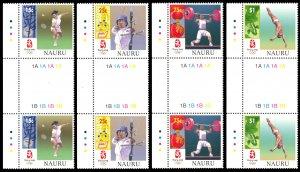 Nauru 2008 Scott #578-581 Gutter Pairs Mint Never Hinged