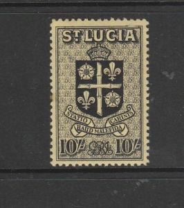 St Lucia 1938/48 GV1 Defs 10/- MM SG 140
