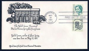 UNITED STATES FDC 17¢ Rachel Carson Home COMBO 1981 cacheted