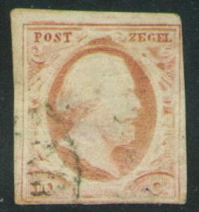 Netherlands Scott 2 nice 1852 lightly canceled stamp CV$24