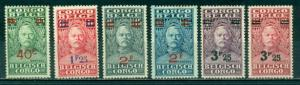 Belgian Congo #130-135 Part Set  Mint F-VF VLH  Scott $19.05