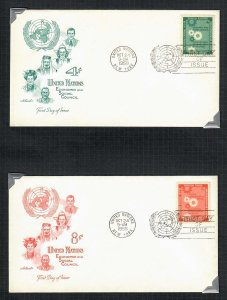 United Nations First Day Cover; Scott 65-66; 1958