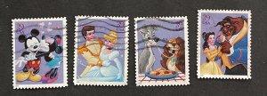 US 2006 The Art of Disney Romance 4025-28 Four design singles USED
